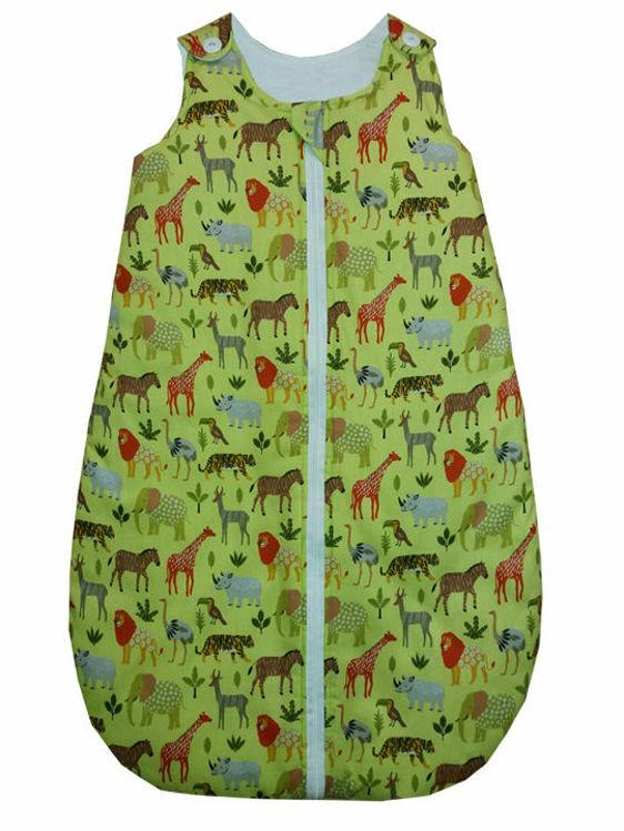 "Poza cu Sac de dormit vara  0.5 tog 85 cm ""Animale salbatice"" (fond verde)"