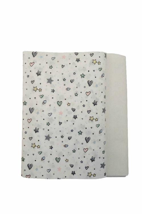Poza cu Set cearceafuri Stelute albe cu elastic pentru saltea 60x20 cm