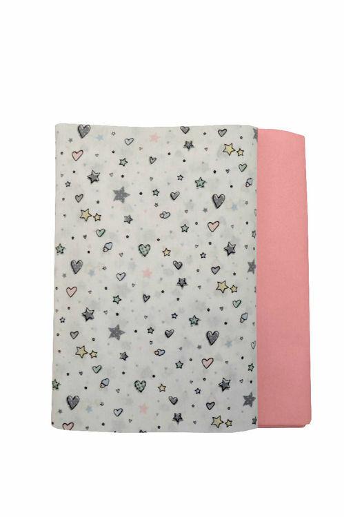 Poza cu Set cearceafuri Stelute roz cu elastic pentru saltea 70 x 140 cm