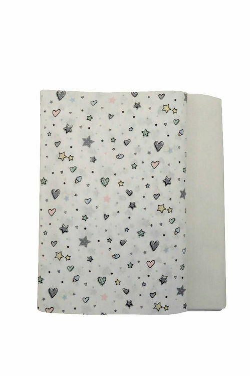 Poza cu Set cearceafuri Stelute albe cu elastic pentru saltea 60 x 85 cm