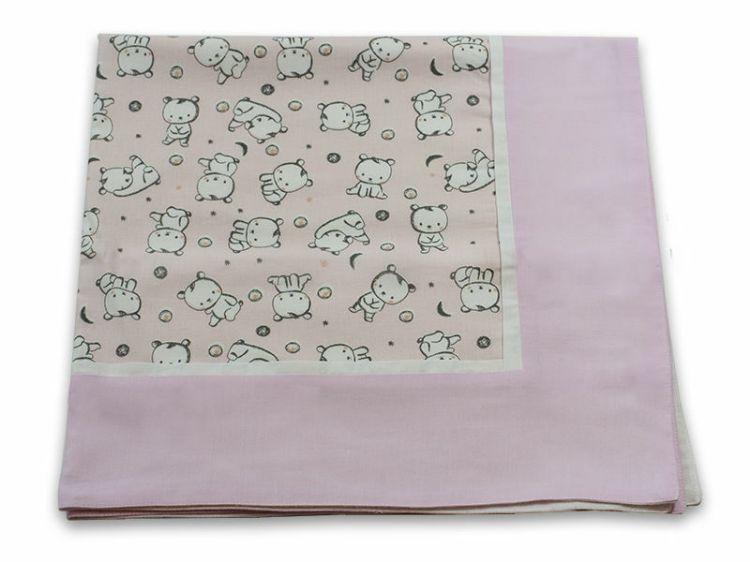 Poza cu Paturica Baby Bear roz cu spate finet