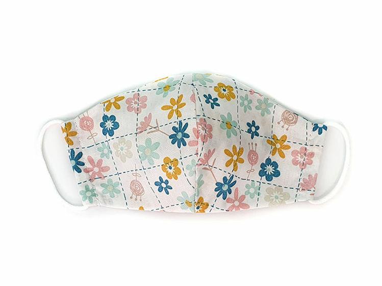 Poza cu Masca faciala pentru copii din bumbac reutilizabila 2 straturi alba cu flori