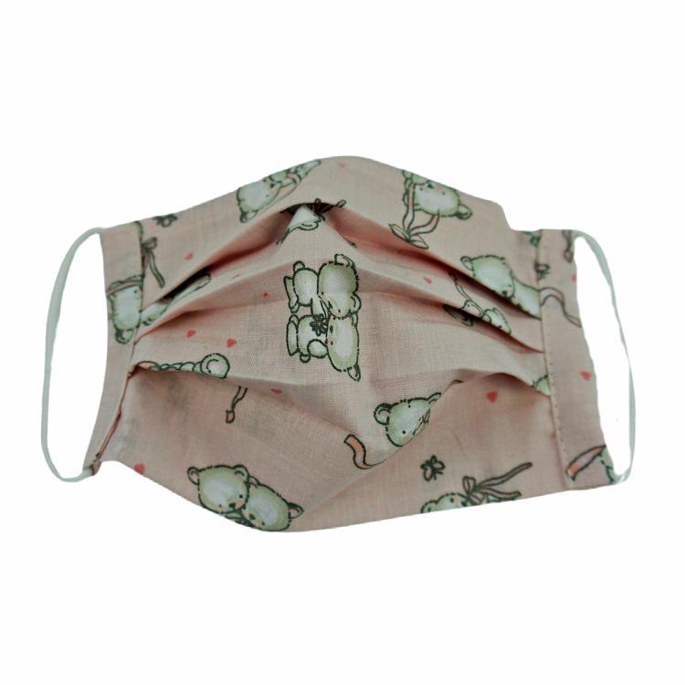 Poza cu Masca faciala pentru copii, cu pliuri din bumbac reutilizabila 2 straturi Baby bear roz