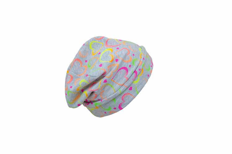 Poza cu Caciula copii Heart Color din bumbac elastic in strat dublu, cu bordura 6-10 ani
