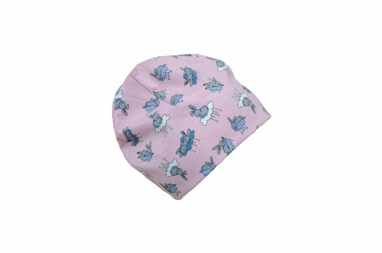 Poza cu Caciula copii Bunny Pink din bumbac elastic in strat dublu 0-6 luni