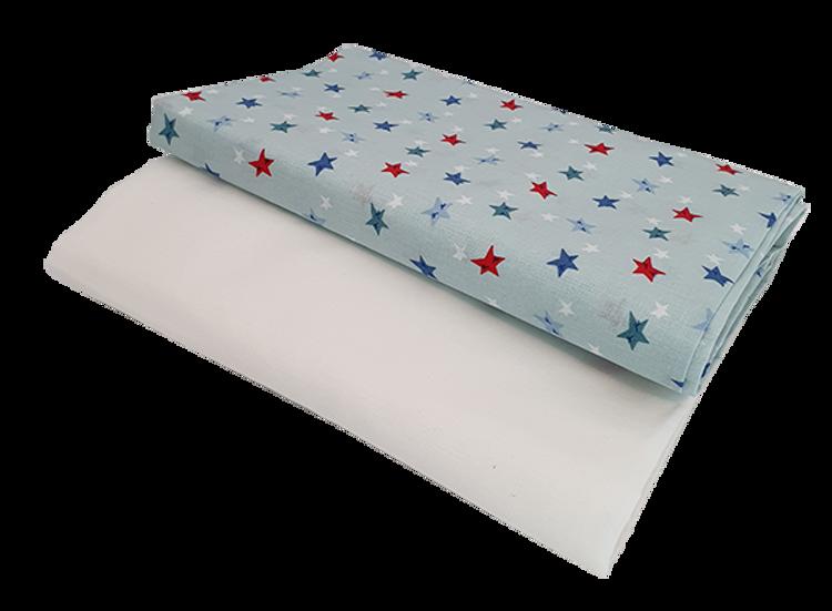"""Poza cu Set cearceafuri """"Stelute somnoroase"""" patut bebelus 70x140 cm, cu elastic din bumbac"""