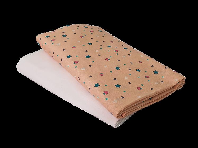 """Poza cu Set cearceafuri """"Lumea stelutelor colorate"""" patut bebelus 63x127 cm, cu elastic din bumbac"""