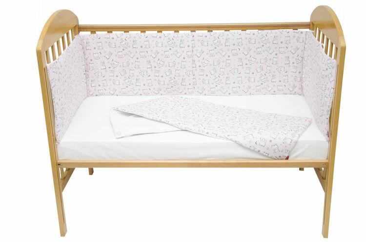 Poza cu Set protectii patut 70 x 140 cm Baby Bear roz