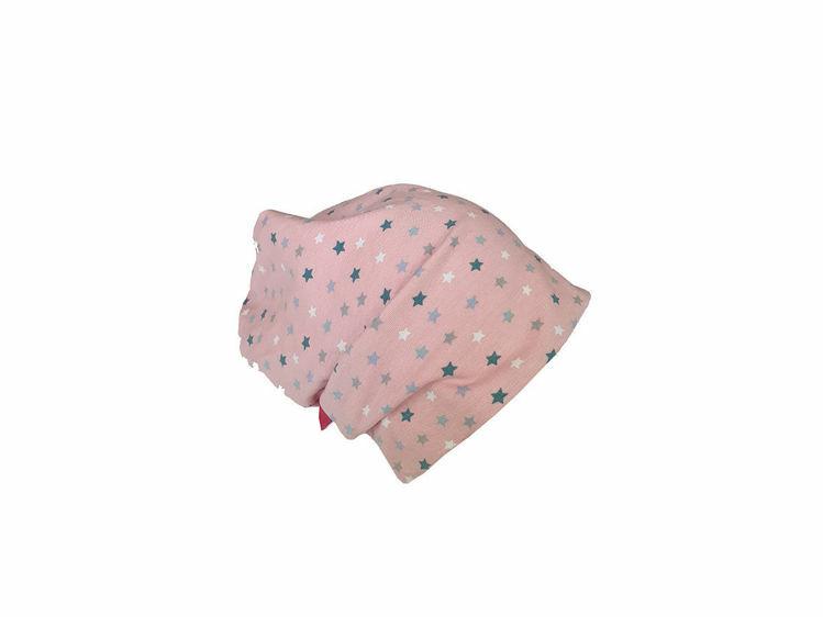 Poza cu Caciula copii Pink Stars 0-6 luni, cu bordura, in strat dublu, din bumbac