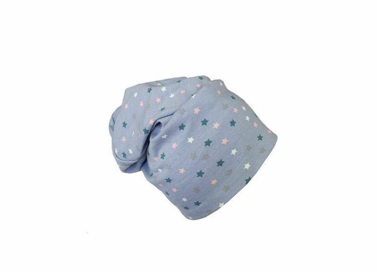 Poza cu Caciula copii Blue Stars 0-6 luni, cu bordura, in strat dublu, din bumbac
