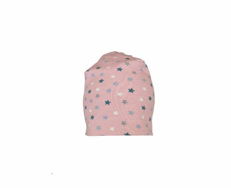 Poza cu Caciula copii Pink Stars 0-6 luni, in strat dublu, din bumbac