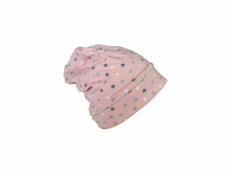 Poza cu Caciula copii Pink Stars 3-6 luni, cu bordura, in strat dublu, din bumbac